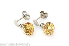 9ct White Gold Citrine Drop Earrings Made in UK Gift Boxed