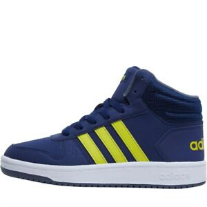 Adidas Kids Hoops 2.0 Mid Trainers UK 3.5 Dark Blue/Yellow Sport Shoes