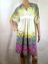 ECI NEW YORK White/Multi Floral Short Sleeves Jersey Dress, Size 10