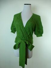 CATHERINE MALANDRINO KELLY GREEN BABY ALPACA CARDIGAN WRAP SWEATER CROCHET TOP M