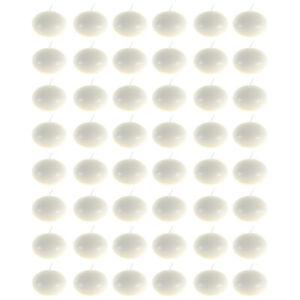 "Mega Candles - Unscented 1.5"" Floating Disc Candles - Ivory, Set of 48"
