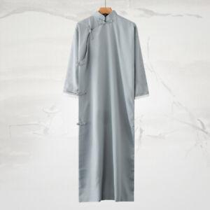 Men Lined Gown Robe Retro One Piece Long Shirt Tops Coat Kungfu Wing Chun Robe