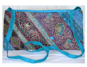 Turquoise Color Hand Embroidered Borders Shoulder Cross Body Bag Silk From India