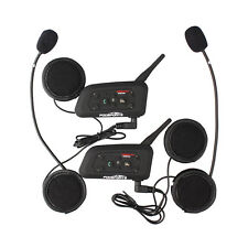 2x BT Bluetooth Motorcycle Helmet Interphone Intercom Headsets 1200M 6Riders pro