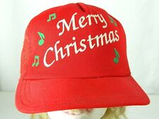 Vintage Merry Christmas Snapback Red Mesh Trucker Hat Plays Music Made in USA