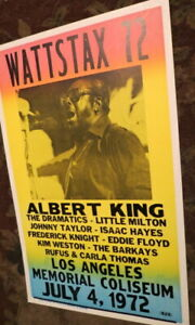 VINTAGE WATTSAX '72 70S ALBERT KING BLUES CONCERT POSTER Little Milton LA Ca.