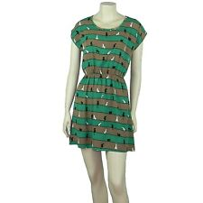 Dolman Short Sleeve Mini Dress Printed Polyester GREEN SMALL ND5120