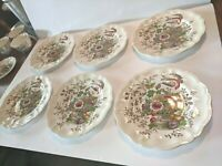 "Royal Doulton HAMPSHIRE 9.5"" Luncheon Plate Beautiful Bird And Flower set of 6"