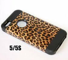 For iPhone SE 5S HARD TPU RUBBER GUMMY HYBRID CASE COVER BROWN LEOPARD CHEETAH