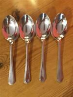 4 x Vintage Osbourne Silver plated EPNS Beaded Design Teaspoons A1 13.7cm