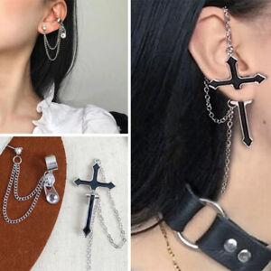 Hot Punk Gothic Long Chain Cross Zipper Stud Drop Earrings for Men Women Jewelry