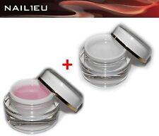 """UV 1-Phasen-Gel Set """"Studioline"""" Klar 30ml + Rosa 30ml/ 1-Phasen Gel Aufbaugel"""