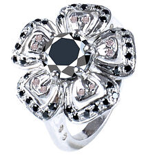 4.08 ct AAA BLACK MOISSANITE & WHITE NATURAL ROUGH DIAMOND .925 SILVER RING