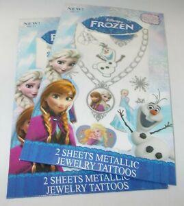 Disney Frozen 2 Feuilles Par Paquet De Métallique Bijoux Tatouages X 2