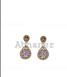 Gold Plated Handmade Earring Sapphire, Ruby & Pave Diamond 925 Sterling Silver
