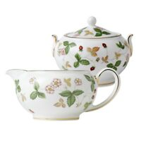 Wedgwood Wild Strawberry Covered Sugar Bowl and Creamer (2) Piece Boxed set