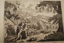 GRAVURE SUR CUIVRE RACHEL LABAN JACOB-BIBLE 1670 LEMAISTRE DE SACY  (B19)