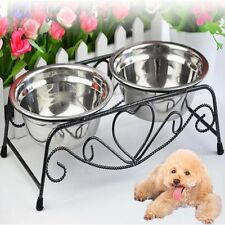 Double Bowl Cat Dog Feeder Elevated Stand Raised Dish Feeding Food Water Pet
