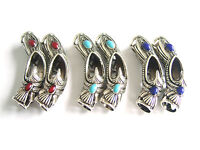 5 Tibetan Silver & Enamel Curved Tube Spacer Beads 7mm Hole For Jewellery Making