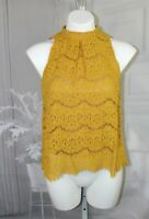 Womens Juniors Love Fire Lace Size Small Yellow Gold Sleeveless tank top NWT