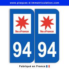 Stickers pour plaque département 94 Val-de-Marne (jeu de 2 stickers)
