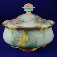 Porcelain Covered Bowl with Lid Gold Trim Hallmarked Bavaria Germany
