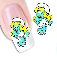 Nail Art Water Decals Transfers Stickers  Blue Smurfs Smurfettes (BLE1599)