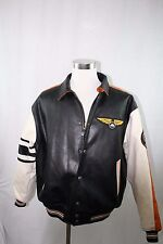 First Down Men's Aviator Bomber Black Leather type Coat XL Vtg Hip Hop