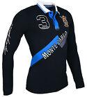 Polo Hombre Ajustado Camisa Manga Larga camiseta Azul marino/Blanco/azul/Rojo
