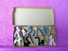 Vintage Japan Chenille Animal Figurines In Box Christmas ? Pink Poodle Dog 8 Pcs