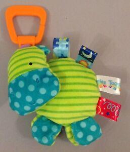 Taggies Hippo Toy Car Seat Pram Comforter Plush - Blue Green Soft Rattle Cute