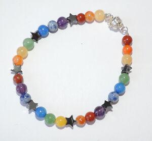 Gem stone Chakra Rainbow Pagan bracelet with Hematite pentacles