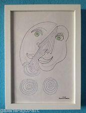 Raymond TRAMEAU Dessin 1960 Encadré Organique Jean Arp Pablo Picasso Visage