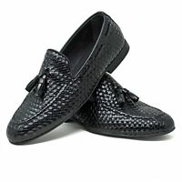 Mens Smart Black Tasseled Navy Suede Tan Loafers Patent Leather Brown Moccasins