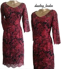 STUNNING VINTAGE STYLE RICH RED CLARET BLACK LACE DRESS M&S PER UNA PARTY