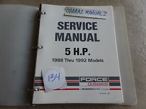 1988 1989 1990 1991 1992 FORCE Outboard  Motor 5 HP Service Manual OEM
