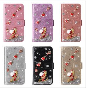 Diamond Christmas Santa Flip Phone Case For Huawei Y5 Y6 Y7 Nova 4E 3E Enjoy 9