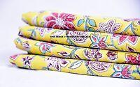 5 Yard Indian Hand Block Print Handmade Yellow Flower Fabric Natural Jaipuri