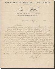 Lettre - B-SOUL commerce de bois en tous genre à Villefranche 1899