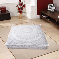 """35X35"""" New Floor Pillow Cushion Cover Large Silver Mandala Indian Dog Bed Covers"""
