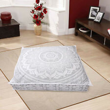 "35X35"" New Floor Pillow Cushion Cover Large Silver Mandala Indian Dog Bed Covers"