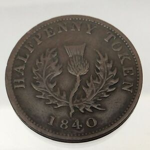 1840 Medium O Province Nova Scotia Canada Copper Half Penny Colonial Token B536