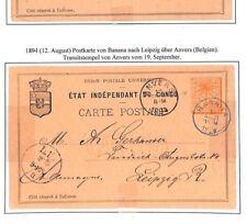 H129 1888 Belgium Colonies CONGO Postal Stationery Postcards{2} *Banana*BLUE CDS