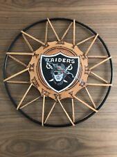 Oakland Raiders 14'' Art Hand Tooled Leather Wall Clock - Unique Handmade