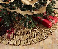 "BURLAP NATURAL RUFFLED CHRISTMAS TREE SKIRT 48"" DIAMETER COTTON BURLAP"