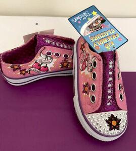 Skechers Twinkle Toes Shuffles Cherry Jubilee Girls' Pink Sparkle/Purple Trim