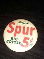 """Vintage Drink SPUR Cola pinback SODA Big 12 Oz. Bottle button 1 3/4"""""""