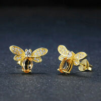 Animal Lovely Natural Yellow Jewelry Earrings Bee Citrine Ear Stud