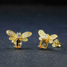 c92f56175a092e Animal Lovely Natural Yellow Jewelry Earrings Bee Citrine Ear Stud