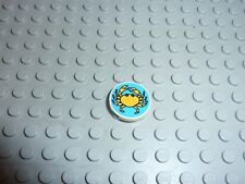 LEGO Tile 2x2 Round with Blue Background Yellow Crab Réf 4150px14 Set 6414/6410
